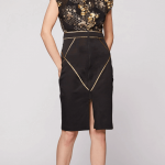Morphic fitted midi skirt_black-gold