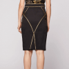 Morphic fitted midi skirt_black-gold back view