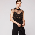 Pollen tulle gather neck top_black-gold front tuck in