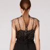 Pollen tulle gather neck top_black-gold back view