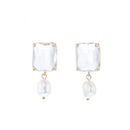 Harlow crystal and pearl earrings
