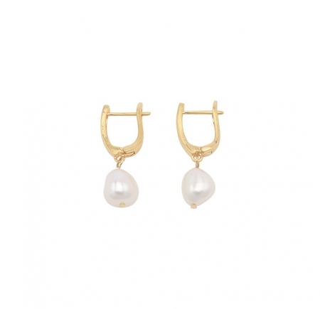Kara pearl and matte gold plated earring