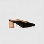 Leather and textured wood souse - black