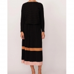 Maple pleated knit skirt - black multi front side