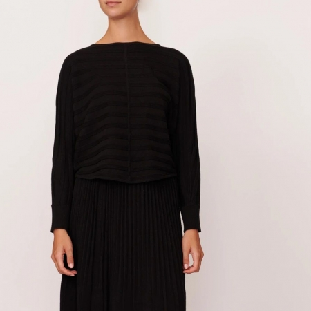Maple ribbed knit - black