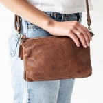 Small perforated leather cross body bag-cognac
