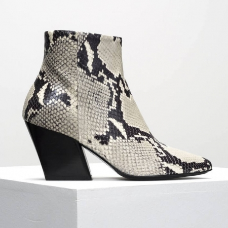 Snake print leather boot