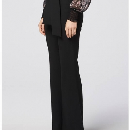 black stretch crepe pant