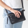 Perforated cross body leather bag-black
