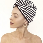 Riva hair towel wrap-monochrome stripe