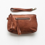 Small Leather Essential Pouch-cognac