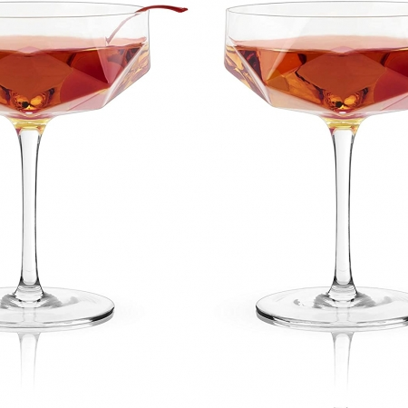 Faceted Crystal Coupe Glasses-set of 2