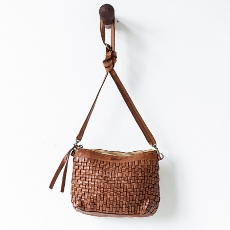 Woven Leather Pouch Bag-cognac